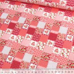 Tecido Tricoline Mista Pop - Mini Patchwork Floral Encanto - Vermelho