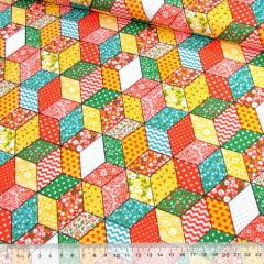 Tricoline Mista Pop - Patch Cubos Coloridos - Laranja