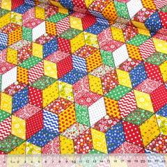 Tecido Tricoline Mista Pop Textoleen Patch Cubos Coloridos - Vermelho - 50% Algodão 50% Poliéster - Largura 1,38m