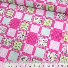 Tecido Tricoline Mista Pop Textoleen Patchwork Window - Rosa Pink