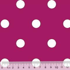 Tecido Tricoline Mista Pop Textoleen Poá Bolas G - Rosa Pink c/ Branco