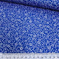 Tricoline Mista Pop - Ramos e Flores - Azul Royal
