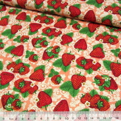 Tricoline Moranguinhos e Flores - Rosê