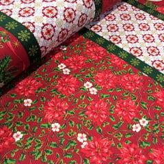 Tricoline Natal Barras - Jingle Bell - Vermelho