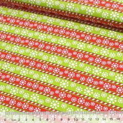 Tecido Tricoline Natal Barrinhas Neve - Verde e Vermelho