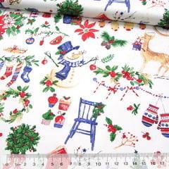 Tricoline Natal - Boneco de Neve e Cia - Fundo Branco