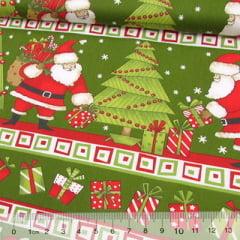 Tecido Tricoline Natal Est. Barrado - Presente de Natal