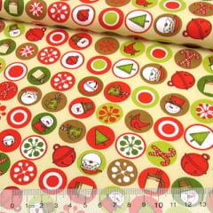Tecido Tricoline Natal Est. Decor Color Dot