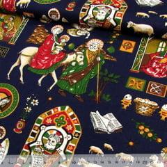 Tecido Tricoline Natal Est. Dia de Natal - Azul Marinho