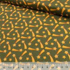 Tecido Tricoline Natal Est. Estrelas Cadentes - Verde