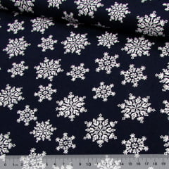 Tecido Tricoline Natal Est. Neve - Fundo Azul Marinho