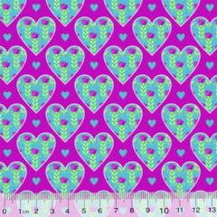 Tecido Tricoline Patch-Patch - Corações - Rosa (Largura: 1,50 m)