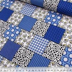 Tecido Tricoline Patch Vaquinhas e Formas - Azul (Largura: 1,50 m)