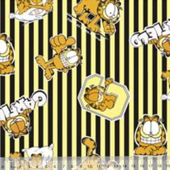 Tecido Tricoline Personagens F. Maluhy - Garfield Listras Amarelas