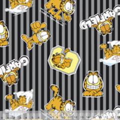 Tecido Tricoline Personagens F. Maluhy - Garfield Listras Cinza