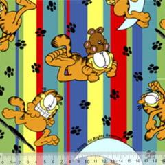 Tecido Tricoline Personagens F. Maluhy - Garfield Listras Coloridas