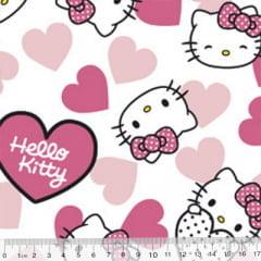 Tecido Tricoline Personagens F. Maluhy - Hello Kitty Corações - 100% Algodão - Largura 1,50m