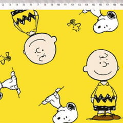 Tecido Tricoline Personagens F. Maluhy - Snoopy & Charlie Brown