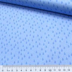 Tecido Tricoline Pingos da Chuva - Azul