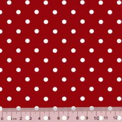 Tecido Tricoline Poá Dots - Fundo Vermelho c/ Branco - 100% Algodão - Largura 1,50m