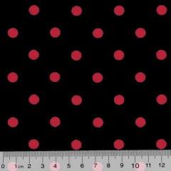 Tecido Tricoline Poá G - Fundo Preto c/ Vermelho
