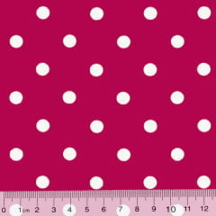 Tecido Tricoline Poá G - Fundo Rosa Pink c/ Branco