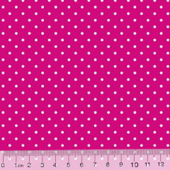Tecido Tricoline Poá M - Fundo Rosa Pink c/ Branco