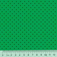Tecido Tricoline Poá M - Fundo Verde Tons