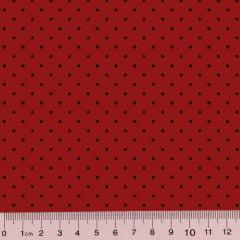 Tecido Tricoline Poá M - Fundo Vermelho c/ Preto