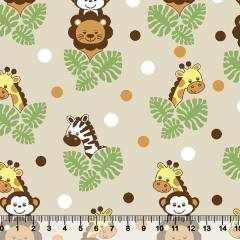 Tricoline Safari Infantil - Bichos Bege