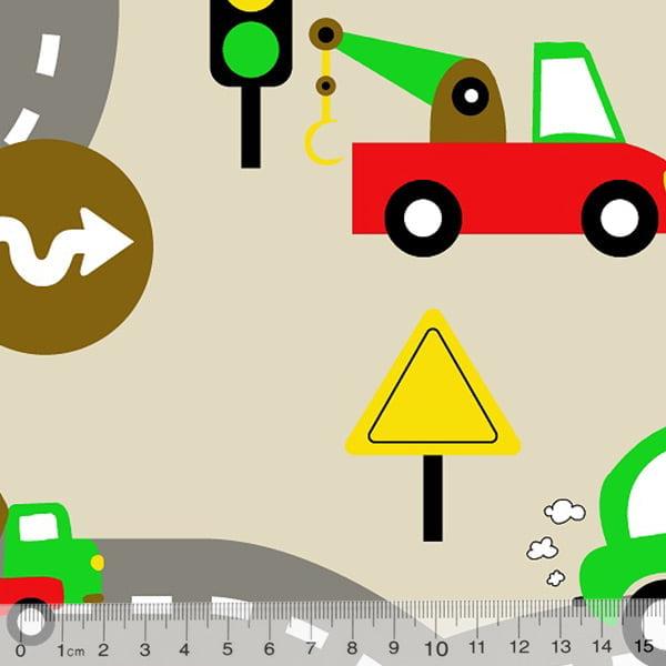 Tecido Tricoline Alg. Trânsito Kids - Bege - 100% Algodão - Largura 1,45m