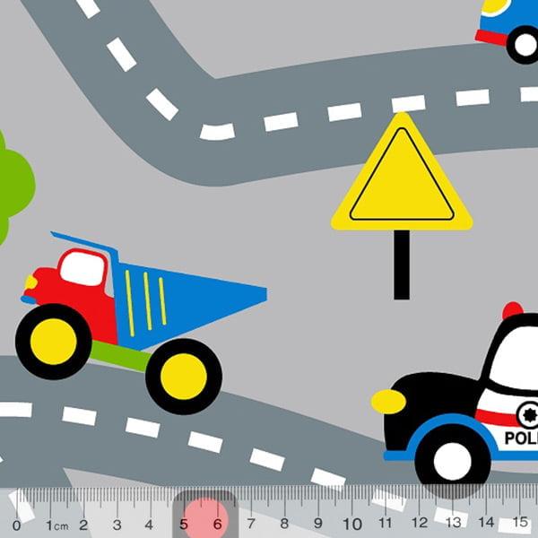 Tecido Tricoline Alg. Trânsito Kids - Cinza - 100% Algodão - Largura 1,45m