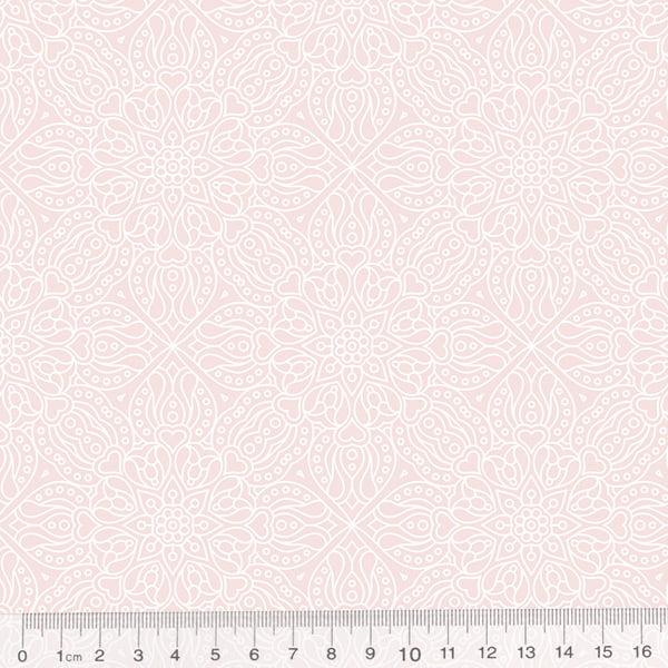 Tecido Tricoline Arabella Rosa - Arabesco - 100% Algodão - Largura 1,50m