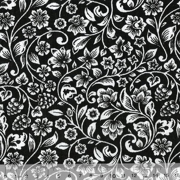 Tecido Tricoline Black Garden Ramos