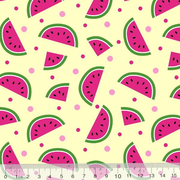 Tecido Tricoline Des. Frutas Melancias - Bege