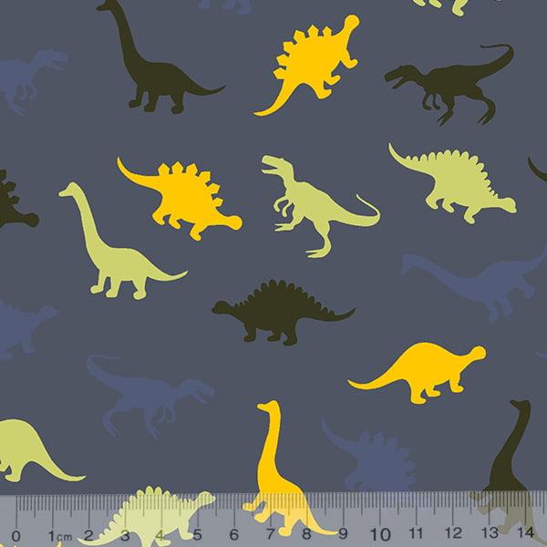860b8a23c4b6b5 Tecido Tricoline Dinossauros Cores - Fundo Azul Antigo - 100% Algodão -  Largura 1,50m