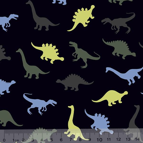f2fb525306f702 Tecido Tricoline Dinossauros Cores - Fundo Azul Marinho - 100% Algodão -  Largura 1,50m
