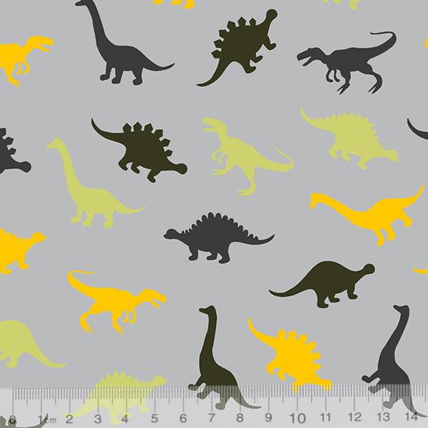 19bc69075f9afd Tecido Tricoline Dinossauros Cores - Fundo Cinza - 100% Algodão - Largura  1,50m
