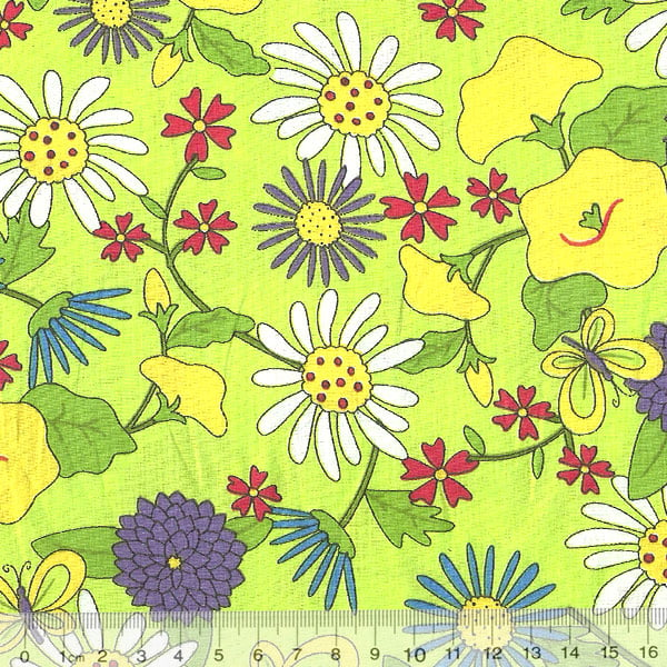 Tecido Tricoline Floral Jardim Green Life