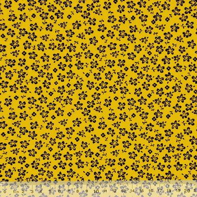 Tecido Tricoline Floral - Trevos Fundo Amarelo c/ Preto
