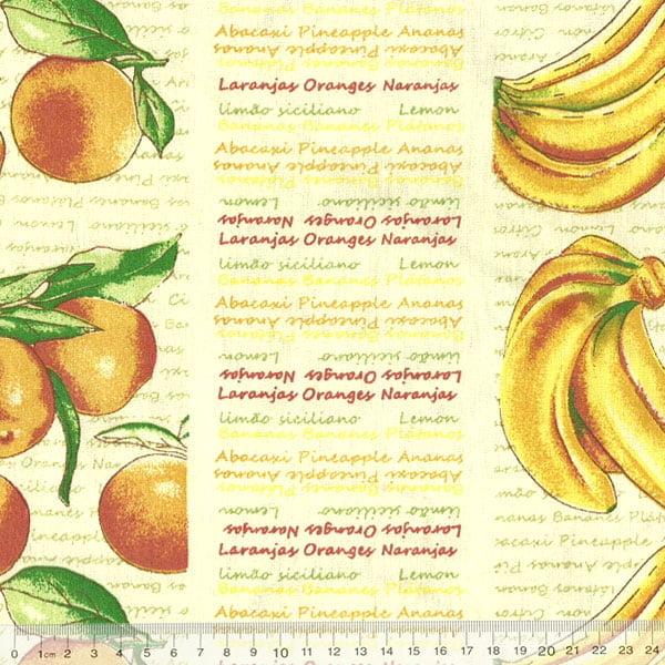 Tecido Tricoline FM Frutas Banana Laranja e Limão Siciliano