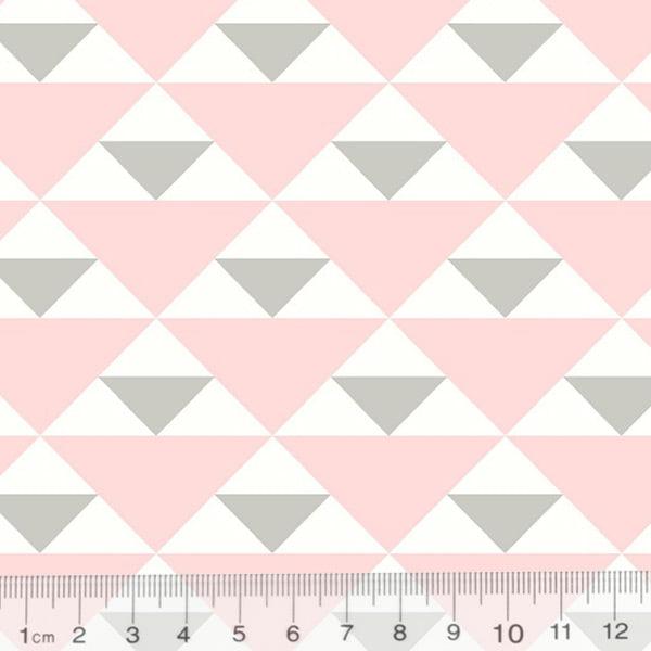Tecido Tricoline Geometria Design Triangulo - Rosa - 100% Algodão - Largura 1,50m