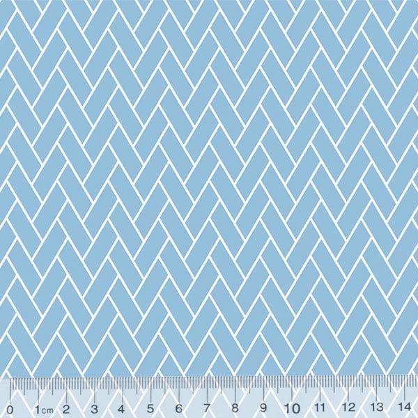Tecido Tricoline Mini Tijolinhos - Azul Claro
