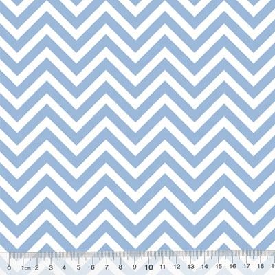 Tecido Tricoline Mista Chevron - Azul Claro - 90% Algodão 10% Poliéster - Largura 1,50m