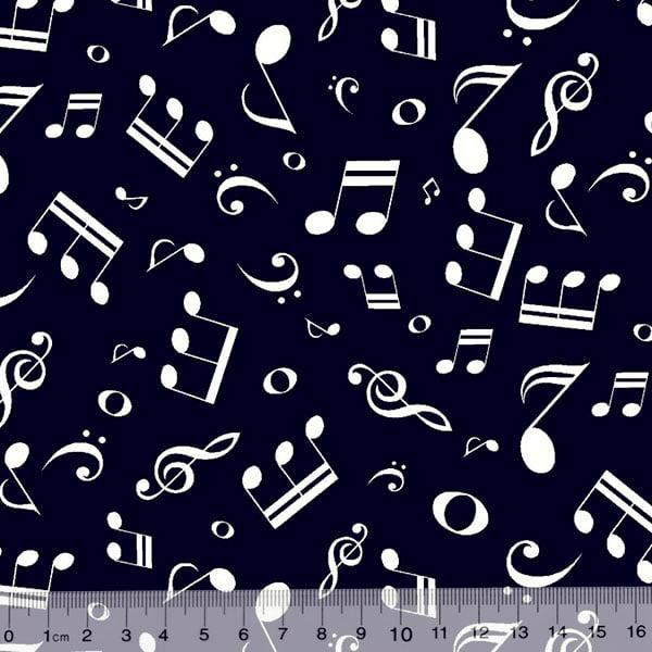 Tecido Tricoline Notas Musicais - Fundo Azul Marinho