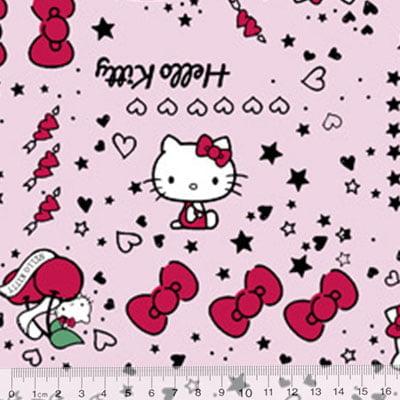 Tecido Tricoline Personagens F. Maluhy - Hello Kitty Lacinhos Rosa