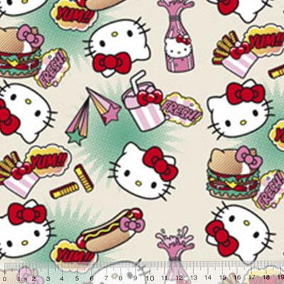 Tecido Tricoline Personagens F. Maluhy - Hello Kitty Hot Dog