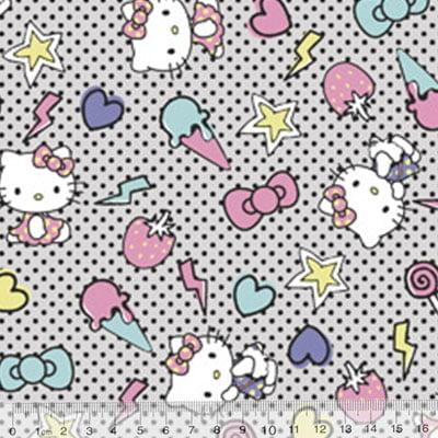 Tecido Tricoline Personagens F. Maluhy - Hello Kitty Sorvete