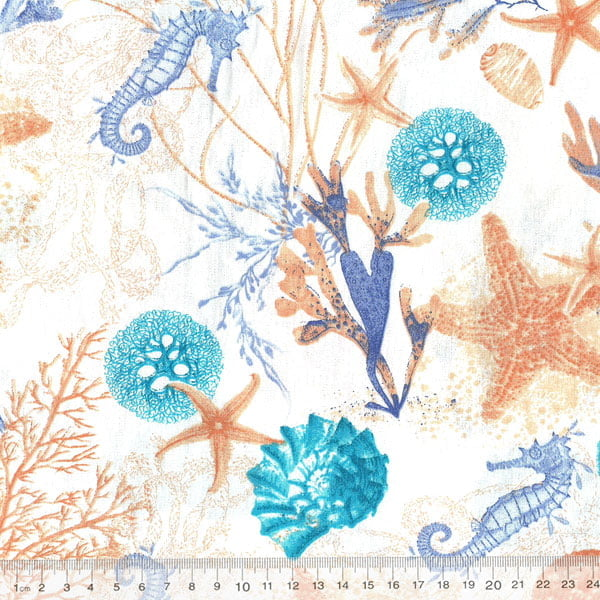 Tecido Tricoline Seahorse - Azul
