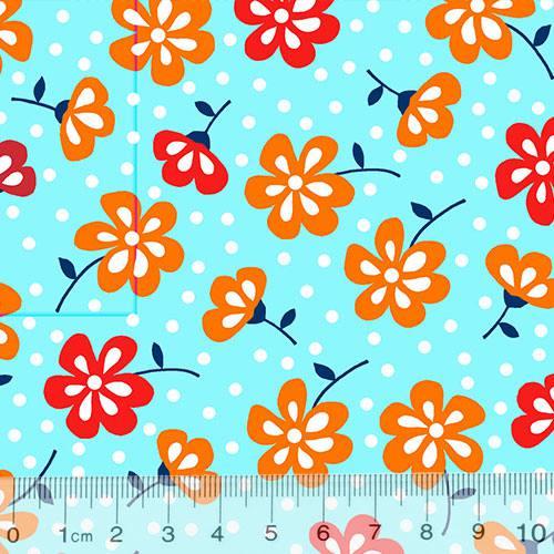 Tricoline Alg. Floral - Jardineira - Fundo Azul
